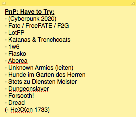 Have to Try - List vom 12. September 2015