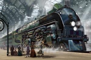 Steampunk Eisenbahneinfahrt