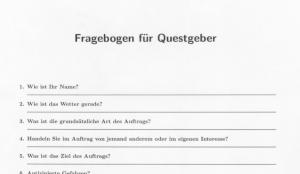 Fragebogen für Questgeber: die ersten Fragen