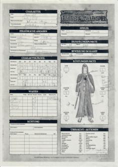 Amendil - Magier für Warhammer Fantasy 2nd - Charakterbogen