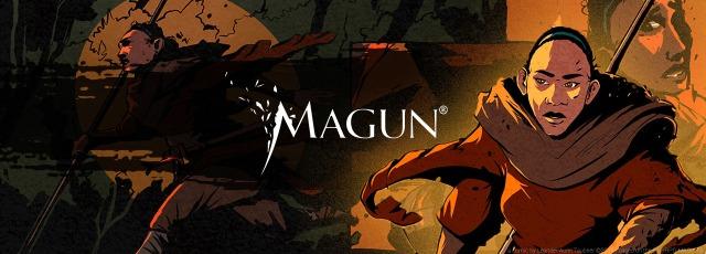 MAGUN-Banner: Schriftzug mit einer Heldin in verschiedenen Posen