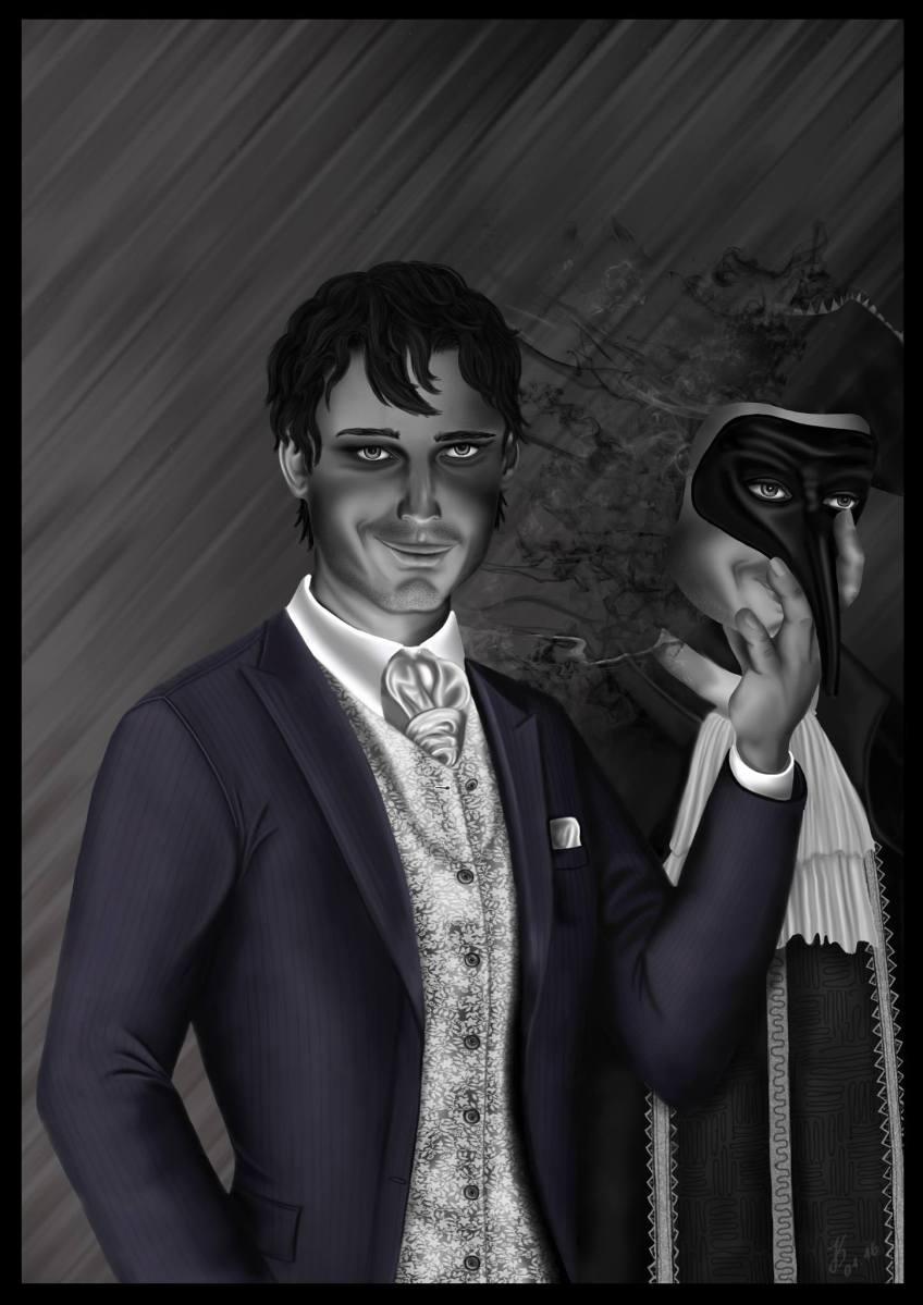 Leonard S Dastrov - Charakter für Dont Rest you Head - Ein seltsam blickender Mann in feinen Kleidern, der eine Maske hält. Von der Maske geht ein Dunst aus, der ein anderes Gesicht zeigt und die Doppelidentität des Charakters symbolisiert