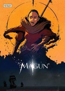Die erste Seite des MAGUN-Comics zeigt eine junge Frau