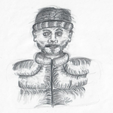 Ramon - ein Charakter für Jäger: die Vergeltung - Ein mann mit dicker Daunenjacke und Strickmütze - Bleistiftzeichnung