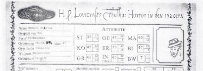 Robert Atkins - Ausschnitt eines Call of Cthulhu-Charakterbogens mit einer eckigen, kleinen Portraitskizze