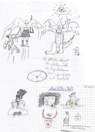 Eine Collage verschiedener Skizzen in denen die Runden protokolliert wurden - in diesem Kontext wenig aussagekräftig