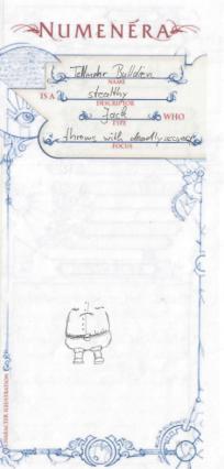 Ausschnitt eines Numeneracharakterbogens für Tellmohr Bulldien - Die skizze zeigt den Torso eines dicklichen Typs ohne Arme und Kopf, da niemals vollendet