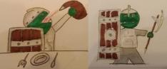 Tsa'Aska - Halbork-Fighter für Pathfinder - Zwei Zeichnungen mit Bleistift und Filzstift zeigen den Ork einmal beim Trinken aus einem Weinschlauch und einmal posierend mit Turmschild und Kriegsaxt